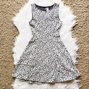 H&M Black and White Floral Skater Mini Dress